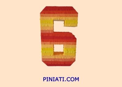 Пинята Цифрата шест-жълто-1